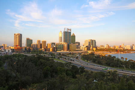 View of Perth City Skyline from Kings Park at dusk, Perth, Western Australia