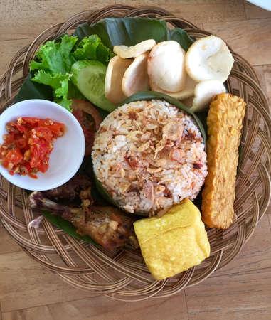 indonesian food: Indonesian food - nasi tutug oncom