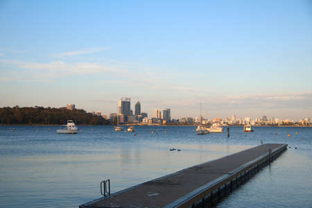 View of Perths Skyline and Kings Park from Matilda Bay, Australia