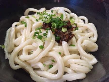 Delicious bowl of chili miso udon Stock Photo