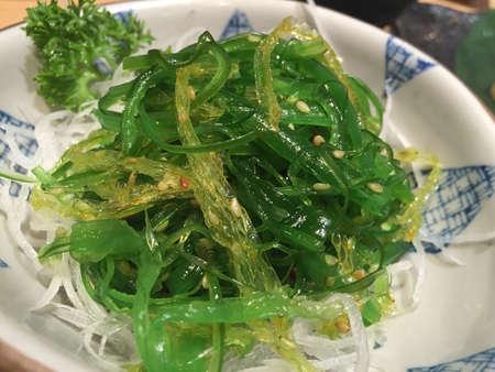 Japanese seasoned seaweed salad chuka wakame Stock Photo