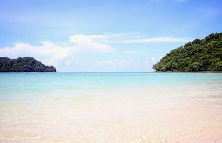 Langkawi Island - Beras Basah Island crystal clear waters and soft sand Stock Photo