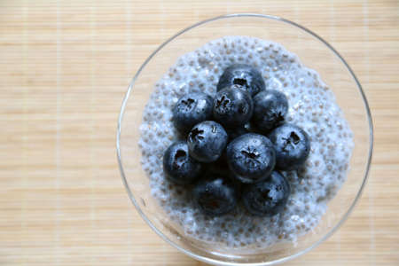 Chia Pudding topped with blueberry
