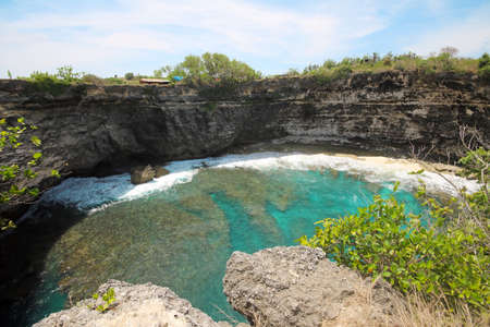 Clift, Sea, Waves and Surf at Pasih Uug - Broken Beach, Nusa Penida, Bali, Indonesia