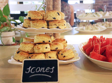 Scones on cake stand for teatime