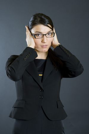 businesswoman in the Hear No Evil pose Stock Photo - 4141550