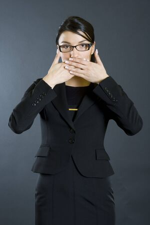 businesswoman in the Speak No Evil pose Stock Photo - 4141548