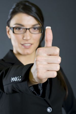 attractive businesswoman ok sign Stock Photo - 4141544