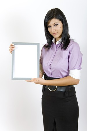 attractive business woman holding a blank frame photo