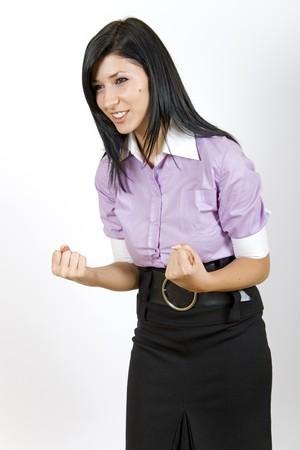 attractive business woman winning photo