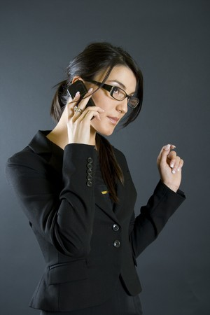 expressing: attractive businesswoman on the phone