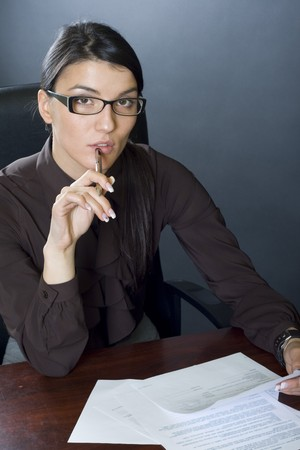attractive businesswoman reading Stock Photo - 4191454