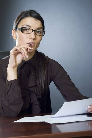 attractive businesswoman reading Stock Photo - 4191465