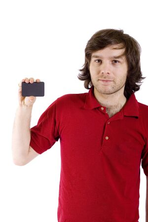casual young man presenting a blank card Stock Photo - 4220765