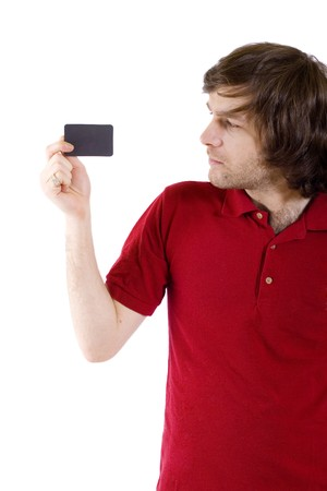 casual young man presenting a blank card Stock Photo - 4220764