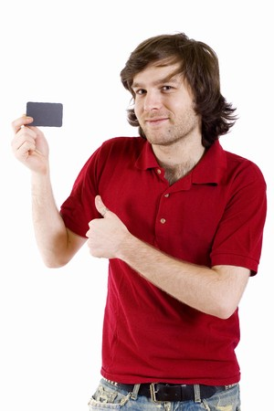casual young man presenting a blank card ok sign Stock Photo - 4220763