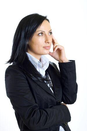 attractive businesswoman thinking photo