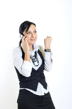 attractive businesswoman with mobile phone winning photo