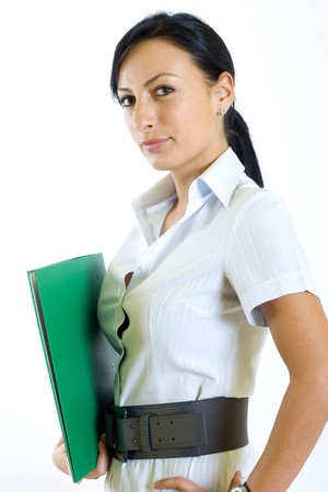 attractive businesswoman holding a folder photo