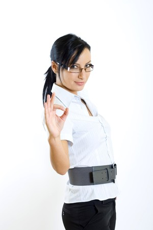 attractive businesswoman ok sign photo