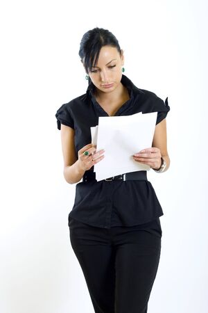 attractive businesswoman holding papers photo