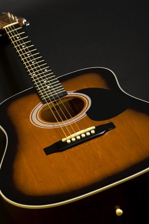 strum: closeup of an acoustical guitar