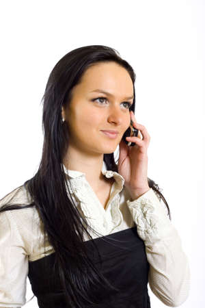 attractive businesswoman talking on mobile phone photo