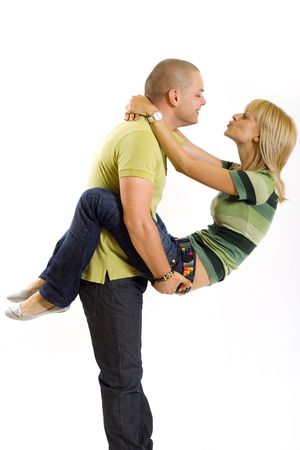 young man holding his girlfriend Stock Photo - 4942420