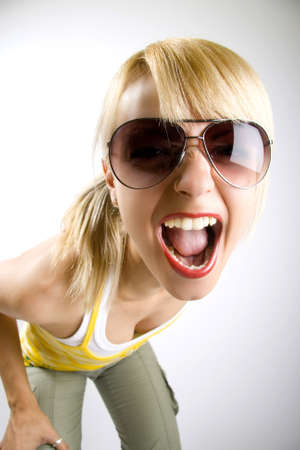 woman screaming: attractive casual woman screaming