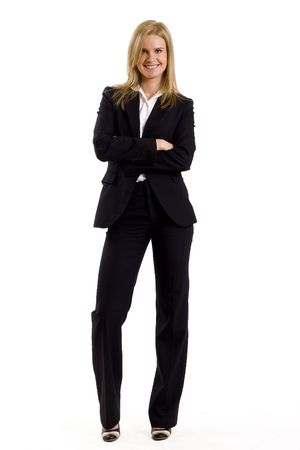 leaning: attractive businesswoman standing on a white background
