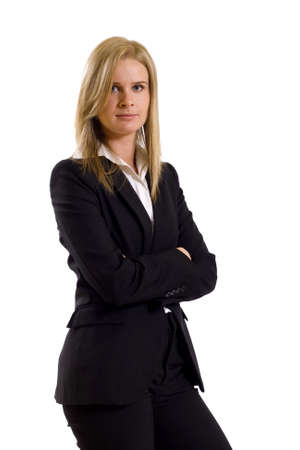 attractive businesswoman standing with hands crossed on a white background photo
