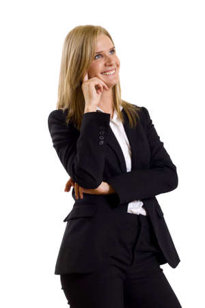 attractive businesswoman thinking on a white background Stock Photo - 4942446
