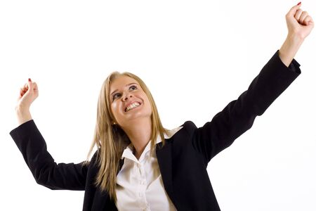 victorious: attractive businesswoman winning