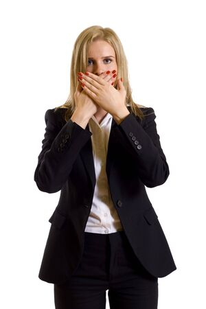 pantsuit: businesswoman in the Speak No Evil pose