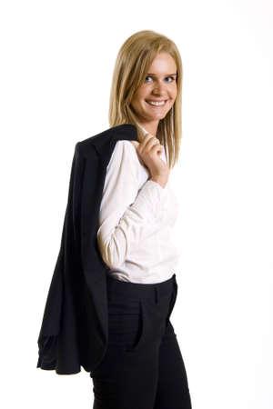atractivo de negocios con escudo en la espalda Foto de archivo - 4942443