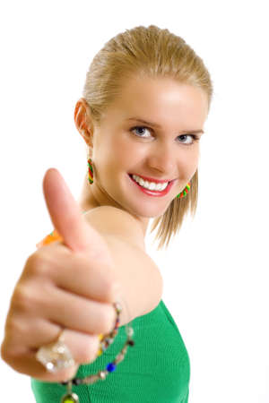 portrait of an attractive young girl making her ok sign photo