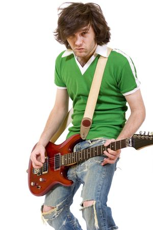 headbanging: guitarist playing his electric guitar Stock Photo