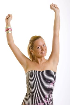 beautiful young woman standing with hands in the air Stock Photo - 5293656