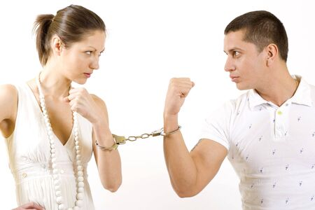 existence: handcuffed couple Stock Photo