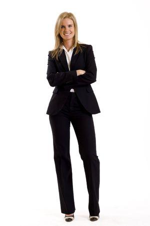 businesswoman suit: atractivo de negocios de pie sobre un fondo blanco Foto de archivo