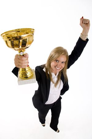 wide angle picture of an attractive businesswoman winning Stock Photo - 5321856