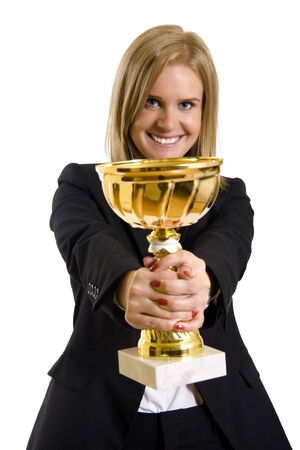 attractive businesswoman winning Stock Photo - 5321935