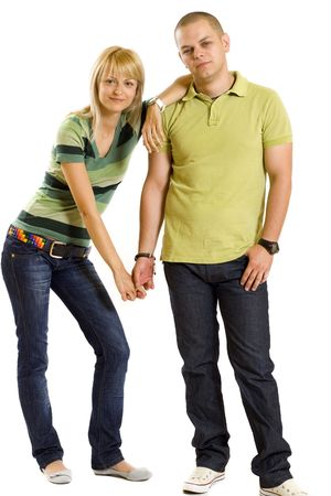 young couple holding hands over white background Stock Photo - 5446792