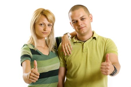 young couple making their ok sign over white background photo
