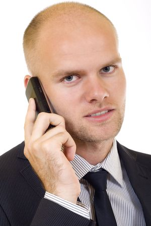 officetower: closeup picture of a businessman on the phone