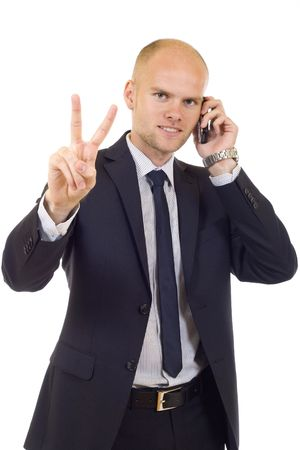 officetower: businessman on the phone making his thumbs up sign