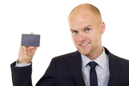 Businessman handing a blank card over white background Stock Photo - 5511149