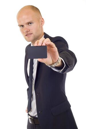 Business man handing a blank business card over white background Stock Photo - 5511176