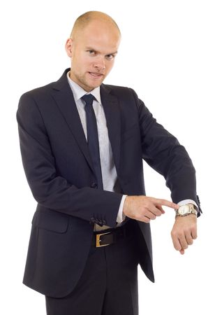 Businessman looking at  his watch  isolated on white Stock Photo - 5511173
