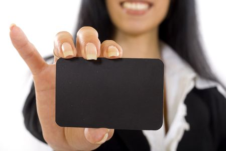closeup of a business card held by a woman photo